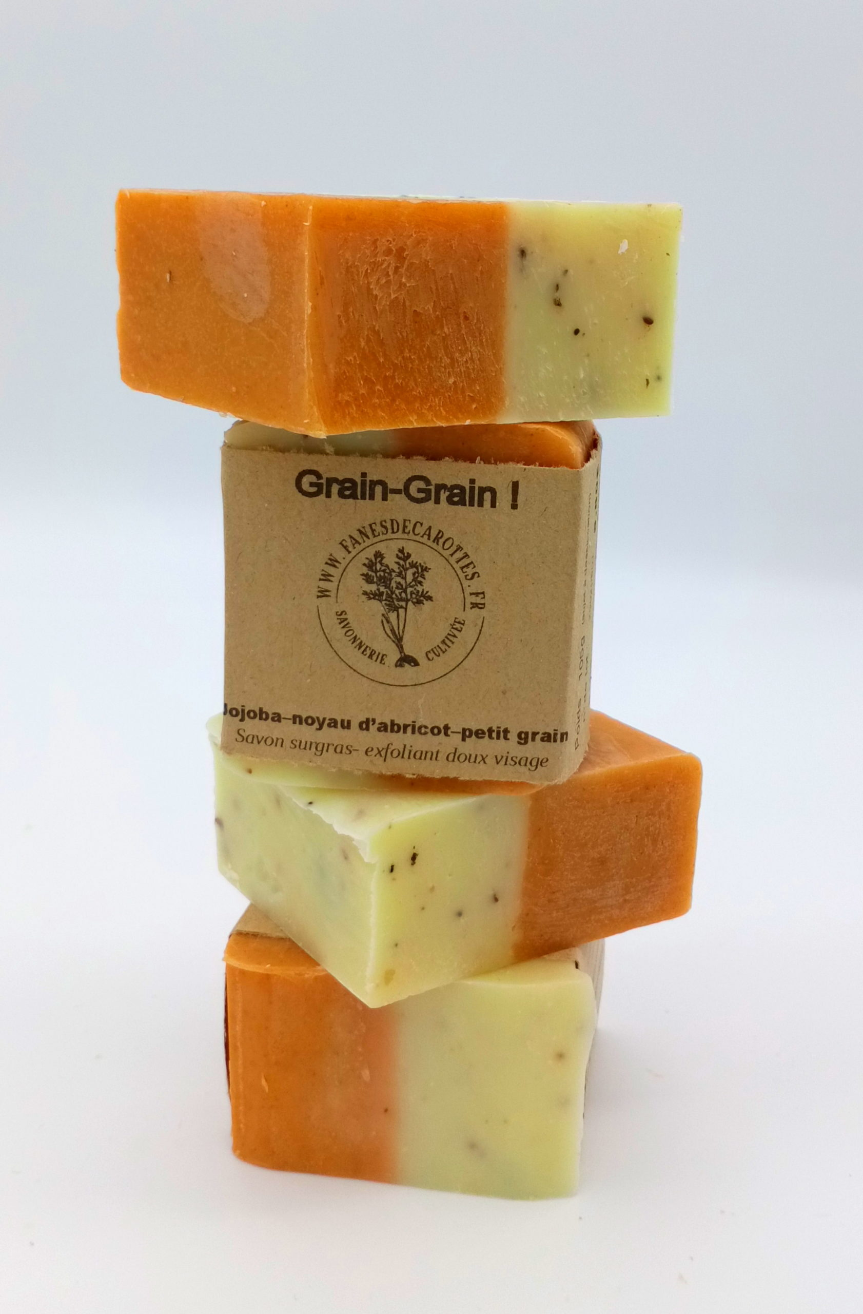 exfoliant visage, grain grain, f'ânes de carottes, rectangle