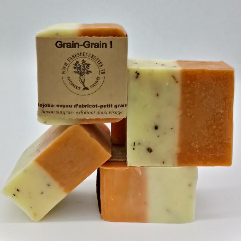 exfoliant visage, grain grain, f'ânes de carottes