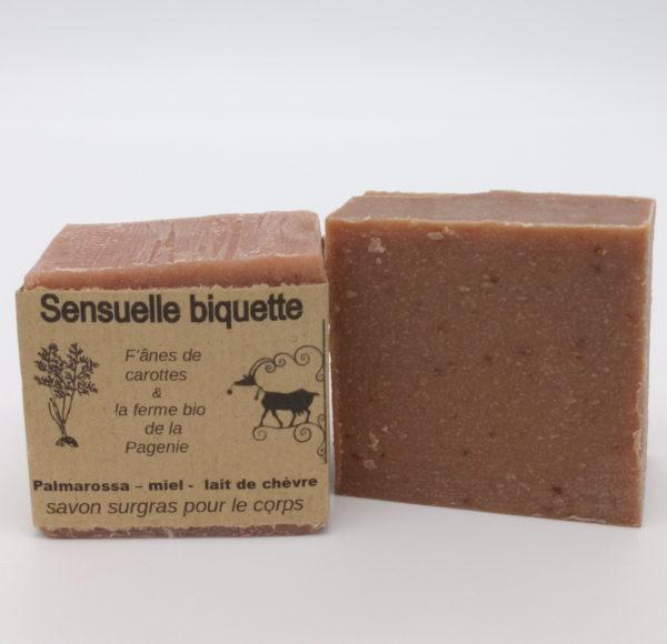 sensuelle biquette, savon au lait de chèvre, f'ânes de carottes